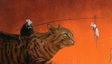 Pawel Kuczynski Fat Mouse feeds thin mouse to cat